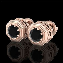 1.07 CTW Fancy Black Diamond Solitaire Art Deco Stud Earrings 18K Rose Gold - REF-72K8R - 37934