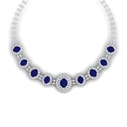 45.69 CTW Royalty Sapphire & VS Diamond Necklace 18K White Gold - REF-1581W8H - 38796