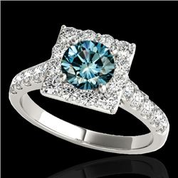 2.5 CTW SI Certified Fancy Blue Diamond Solitaire Halo Ring 10K White Gold - REF-290F9M - 34146