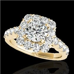 2.5 CTW H-SI/I Certified Diamond Solitaire Halo Ring 10K Yellow Gold - REF-230T9X - 33345