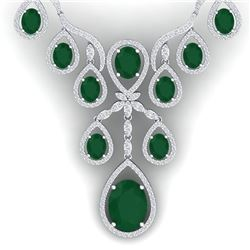 37.66 CTW Royalty Emerald & VS Diamond Necklace 18K White Gold - REF-963M6F - 38556