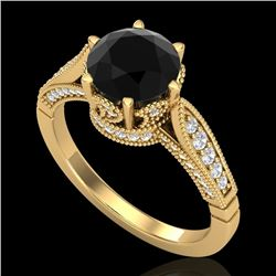 2.2 CTW Fancy Black Diamond Solitaire Engagement Art Deco Ring 18K Yellow Gold - REF-141H8W - 38089