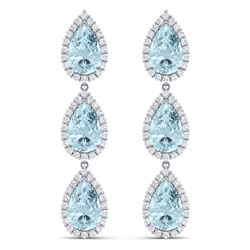27.3 CTW Royalty Sky Topaz & VS Diamond Earrings 18K White Gold - REF-290W9H - 38850