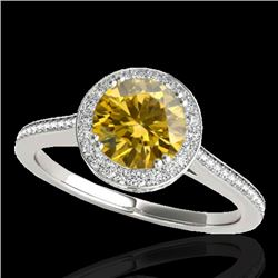 1.55 CTW Certified Si Fancy Intense Yellow Diamond Solitaire Halo Ring 10K White Gold - REF-180N2Y -