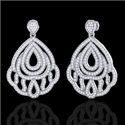 3 CTW Micro Pave VS/SI Diamond Certified Earrings Designer 18K White Gold - REF-280N2Y - 21147