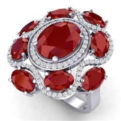 9.86 CTW Royalty Designer Ruby & VS Diamond Ring 18K White Gold - REF-218N2Y - 39294