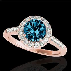 1.5 CTW SI Certified Fancy Blue Diamond Solitaire Halo Ring 10K Rose Gold - REF-169M3F - 33487