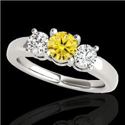 2 CTW Certified Si Fancy Intense Yellow Diamond 3 Stone Solitaire Ring 10K White Gold - REF-290K9R -
