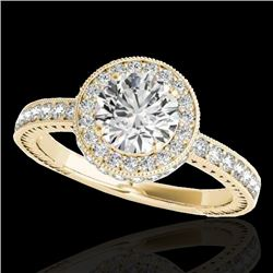 1.51 CTW H-SI/I Certified Diamond Solitaire Halo Ring 10K Yellow Gold - REF-180T2X - 34303