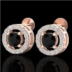 0.75 CTW Micro Pave VS/SI Diamond Certified Earrings Halo 14K Rose Gold - REF-40F2M - 20055