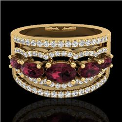 2.25 CTW Garnet & Micro Pave VS/SI Diamond Certified Designer Ring 10K Yellow Gold - REF-69T3X - 210