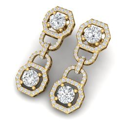 4 CTW Certified SI/I Diamond Halo Earrings 18K Yellow Gold - REF-271W4H - 40132