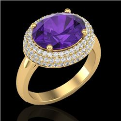 4 CTW Amethyst & Micro Pave VS/SI Diamond Certified Ring 18K Yellow Gold - REF-98X5T - 20903