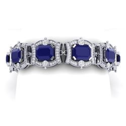 43.87 CTW Royalty Sapphire & VS Diamond Bracelet 18K White Gold - REF-763K6R - 38781