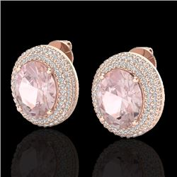 9 CTW Morganite & Micro Pave VS/SI Diamond Certified Earrings 14K Rose Gold - REF-273F5M - 20228