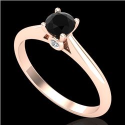 0.40 CTW Fancy Black Diamond Solitaire Engagement Art Deco Ring 18K Rose Gold - REF-33R6K - 38179