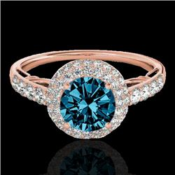 1.65 CTW SI Certified Fancy Blue Diamond Solitaire Halo Ring 10K Rose Gold - REF-178N2Y - 33703