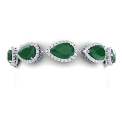 42 CTW Royalty Emerald & VS Diamond Bracelet 18K White Gold - REF-636R4K - 38856
