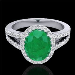 3 CTW Emerald & Micro VS/SI Diamond Halo Solitaire Ring 18K White Gold - REF-78H2W - 20938