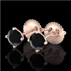 0.65 CTW Fancy Black Diamond Solitaire Art Deco Stud Earrings 18K Rose Gold - REF-36F4M - 38221