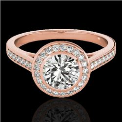 1.3 CTW H-SI/I Certified Diamond Solitaire Halo Ring 10K Rose Gold - REF-168M4F - 33626
