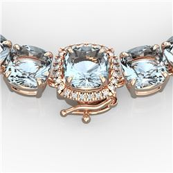 87 CTW Aquamarine & VS/SI Diamond Necklace 14K Rose Gold - REF-726F9M - 23337