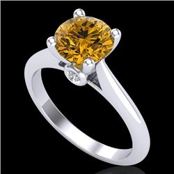 1.6 CTW Intense Fancy Yellow Diamond Engagement Art Deco Ring 18K White Gold - REF-289H3W - 38218