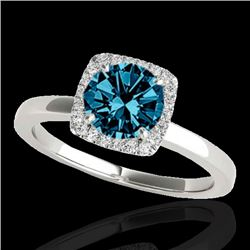 1.15 CTW SI Certified Fancy Blue Diamond Solitaire Halo Ring 10K White Gold - REF-163Y5N - 33405