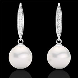 0.18 CTW Micro VS/SI Diamond Certified & Pearl Designer Earrings 18K White Gold - REF-34T5X - 22636