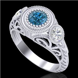 1.06 CTW Fancy Intense Blue Diamond Art Deco 3 Stone Ring 18K White Gold - REF-154M5F - 37495