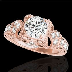 1.25 CTW H-SI/I Certified Diamond Solitaire Antique Ring 10K Rose Gold - REF-172K8R - 34667