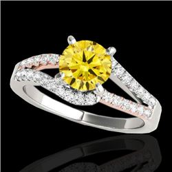 1.4 CTW Certified Si Fancy Yellow Diamond Solitaire Ring 2 Tone 10K White & Rose Gold - REF-176T4X -