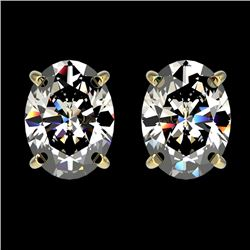 2.50 CTW Certified VS/SI Quality Oval Diamond Stud Earrings 10K Yellow Gold - REF-663T2X - 33113