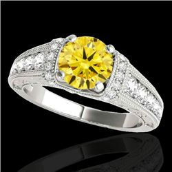 1.5 CTW Certified Si Intense Yellow Diamond Solitaire Antique Ring 10K White Gold - REF-180M2F - 347