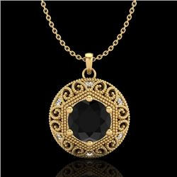 1.11 CTW Fancy Black Diamond Solitaire Art Deco Stud Necklace 18K Yellow Gold - REF-87R3K - 37564