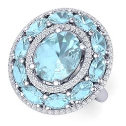 8.47 CTW Royalty Sky Topaz & VS Diamond Ring 18K White Gold - REF-163Y6N - 39249