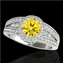 1.5 CTW Certified Si Fancy Intense Yellow Diamond Solitaire Halo Ring 10K White Gold - REF-180H2W -