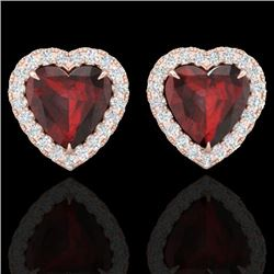 2.22 CTW Garnet & Micro Pave VS/SI Diamond Earrings Heart Halo 14K Rose Gold - REF-43Y6N - 21204