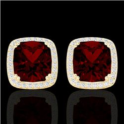 6 CTW Garnet & Micro Pave VS/SI Diamond Halo Solitaire Earrings 18K Yellow Gold - REF-76W4H - 22805