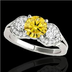 1.45 CTW Certified Si Fancy Intense Yellow Diamond 3 Stone Ring 10K White Gold - REF-180W2H - 35338