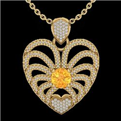 3 CTW Citrine With Micro Pave VS/SI Diamond Heart Necklace 14K Yellow Gold - REF-127H3W - 20503