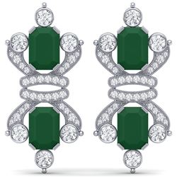 27.36 CTW Royalty Emerald & VS Diamond Earrings 18K White Gold - REF-600X2T - 38760