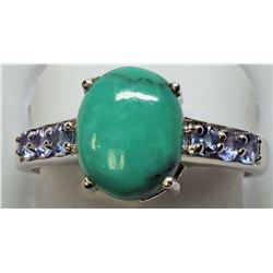 $400 2St.Sil Amy and Blue Dia Ring