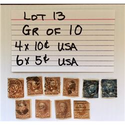 STAMPS, USA, 5 & 10 CENTS
