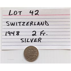 COIN, SWITZERLAND 1948, 2 FR.