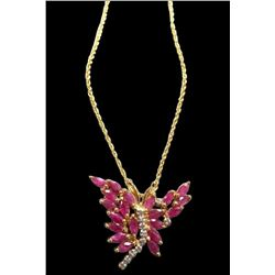 Ruby & Diamond Butterfly Pendant Necklace