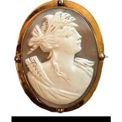 Late 19thc Gold Mounted Cameo Brooch Pendant
