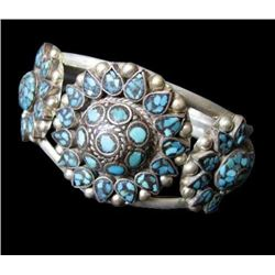 Russian Silvered Turquoise Pewter Cuff Bracelet