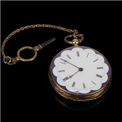 Constantine Geneve Cylindre Huit Rubis 18K Gold Pocket Watch