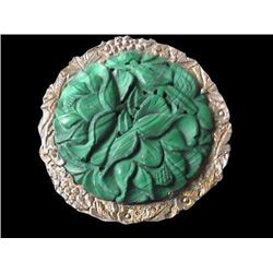 Early 1900's Art Nouveau Malachite Brooch